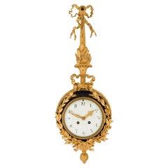 French 19th Century Louis XVI Style Ormolu and Enamel Cartel Clock