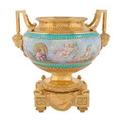 French 19th Century Louis XVI Style Ormolu and Enameled Porcelain Centerpiece