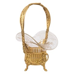 French 19th Century Louis XVI Style Ormolu and Etched Glass Pannier Basket