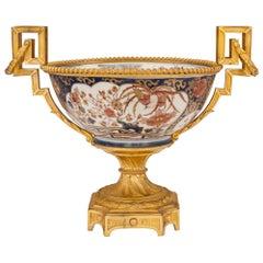 French 19th Century Louis XVI Style Ormolu and Imari Porcelain Centerpiece