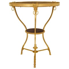 French 19th Century Louis XVI Style Ormolu and Marble Gueridon Side Table