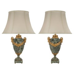 French 19th Century Louis XVI Style Ormolu and Marble Lamps
