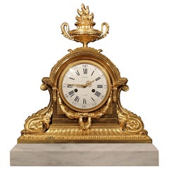 French 19th Century Louis XVI Style Ormolu and Marble Signed Clock