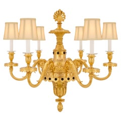 French 19th Century Louis XVI Style Ormolu and Patinated Bronze Chandelier