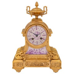 French 19th Century Louis XVI Style Ormolu and Porcelain Clock