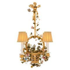 French 19th Century Louis XVI Style Ormolu and Saxe Porcelain Chandelier