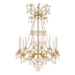 French 19th Century Louis XVI Style Ormolu, Baccarat and Rock Crystal Chandelier