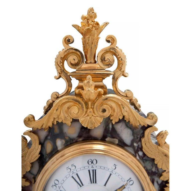 French 19th Century Louis XVI Style Ormolu, Bronze and Marble Clock In Excellent Condition For Sale In West Palm Beach, FL