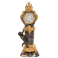 French 19th Century Louis XVI Style Ormolu, Bronze and Marble Clock
