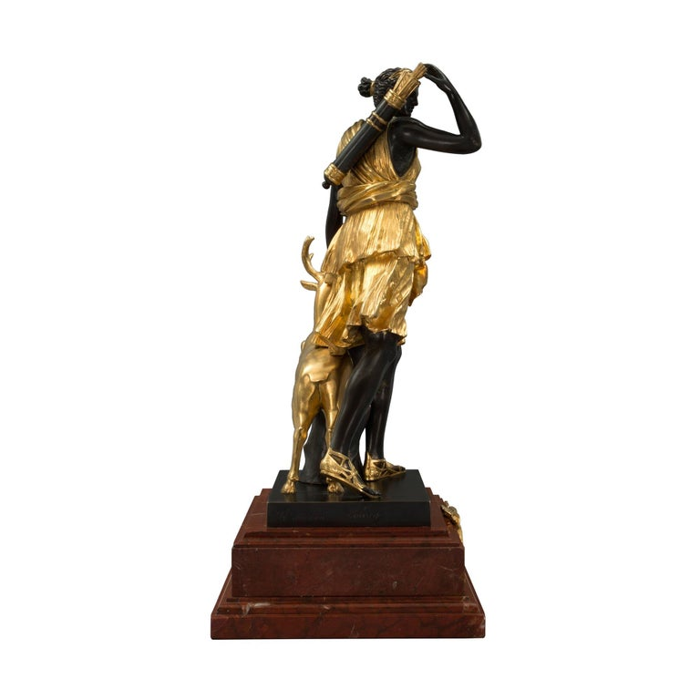 Patinated French 19th Century Louis XVI Style Ormolu, Bronze and Marble Statue For Sale