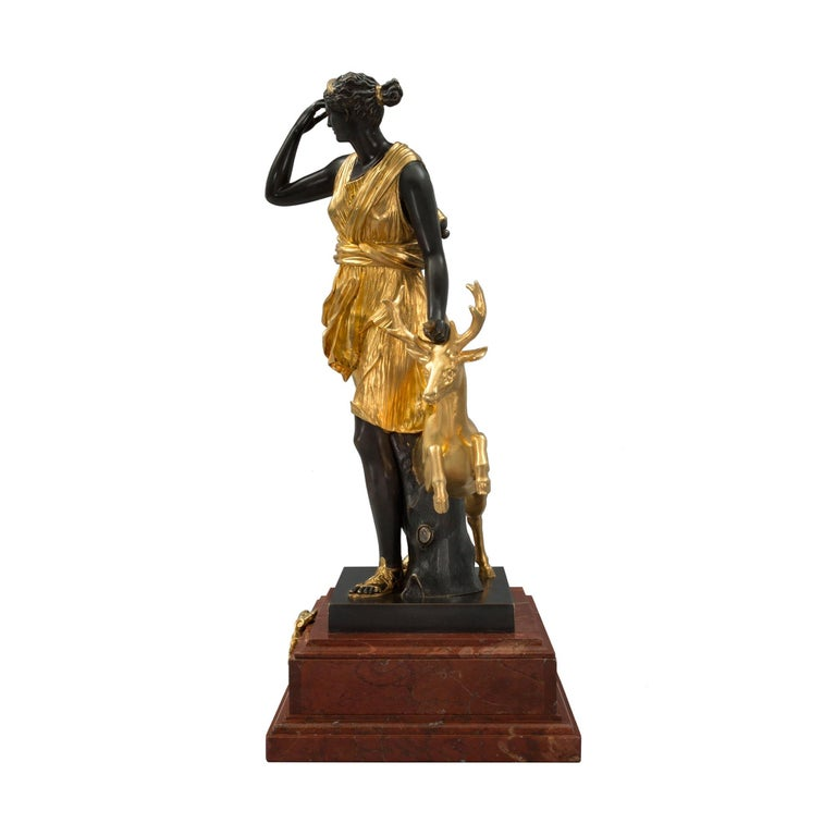French 19th Century Louis XVI Style Ormolu, Bronze and Marble Statue For Sale 1
