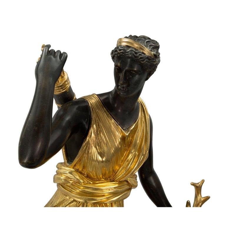 French 19th Century Louis XVI Style Ormolu, Bronze and Marble Statue For Sale 2
