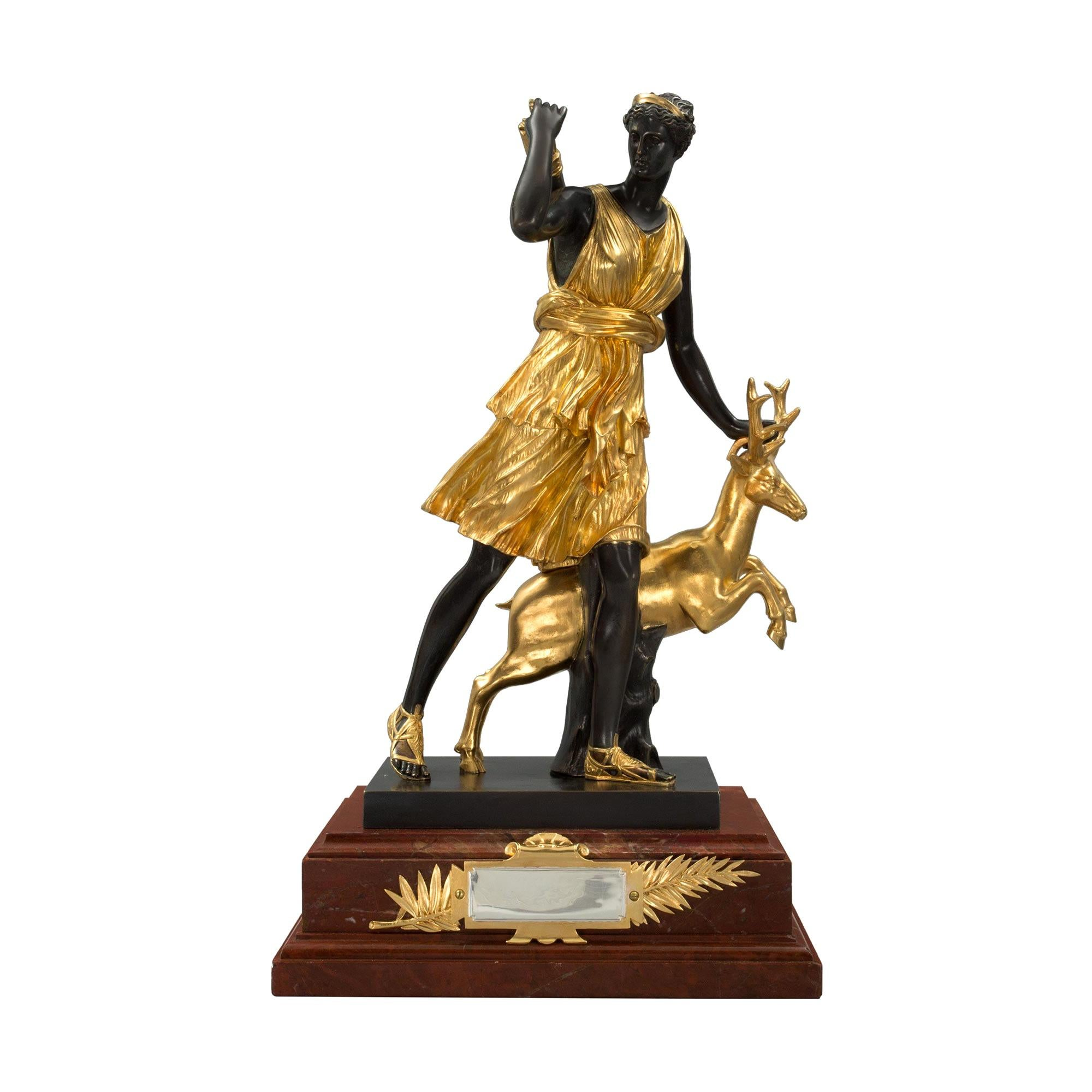 French 19th Century Louis XVI Style Ormolu, Bronze and Marble Statue