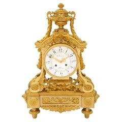 French 19th Century Louis XVI Style Ormolu Clock Signed by Denière