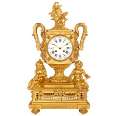 French 19th Century Louis XVI Style Ormolu Clock Signed Cheuret À Marseilles