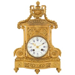 French 19th Century Louis XVI Style Ormolu Clock Signed F. Barbedienne