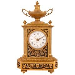 French 19th Century Louis XVI Style Ormolu Clock Signed 'Raingo Freres, Paris'