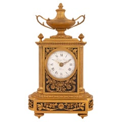 French 19th Century Louis XVI Style Ormolu Clock Signed 'Raingo Freres, Paris