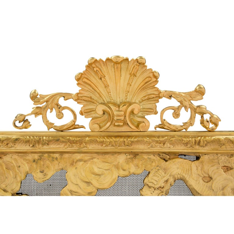 French 19th Century Louis XVI Style Ormolu Fireguard In Excellent Condition For Sale In West Palm Beach, FL