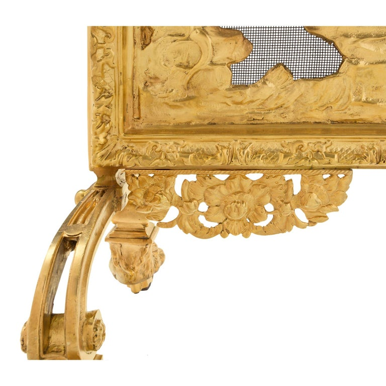 French 19th Century Louis XVI Style Ormolu Fireguard For Sale 2