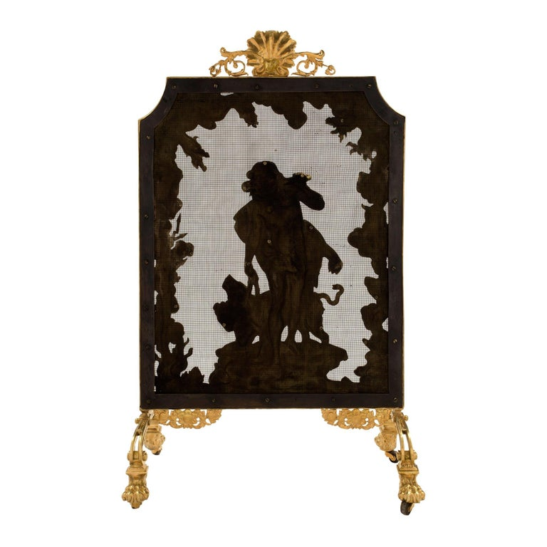 French 19th Century Louis XVI Style Ormolu Fireguard For Sale 4