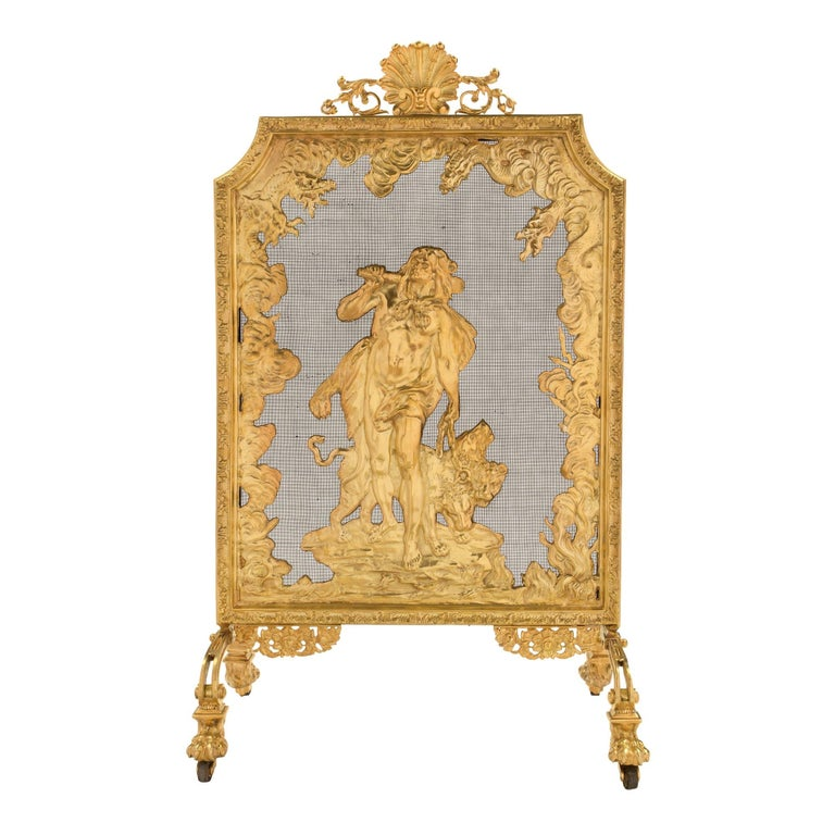 French 19th Century Louis XVI Style Ormolu Fireguard For Sale