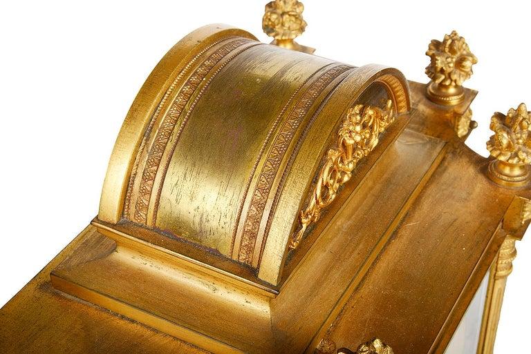 French 19th Century Louis XVI Style Ormolu Mantel Clock For Sale 5