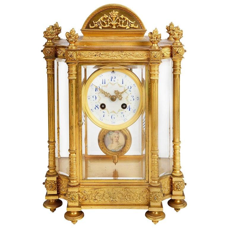 French 19th Century Louis XVI Style Ormolu Mantel Clock For Sale