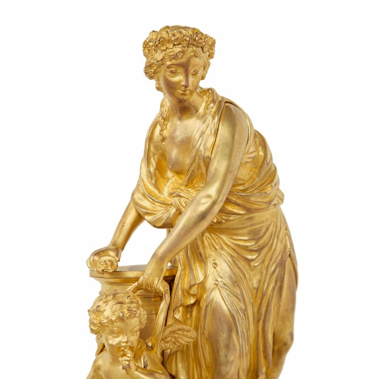 French 19th Century Louis XVI Style Ormolu Statue of a Maiden For Sale 2