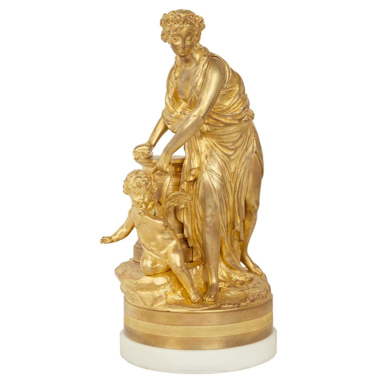 French 19th Century Louis XVI Style Ormolu Statue of a Maiden For Sale
