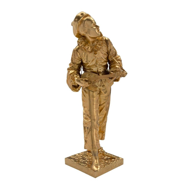 A charming French 19th century Louis XVI style ormolu statue of