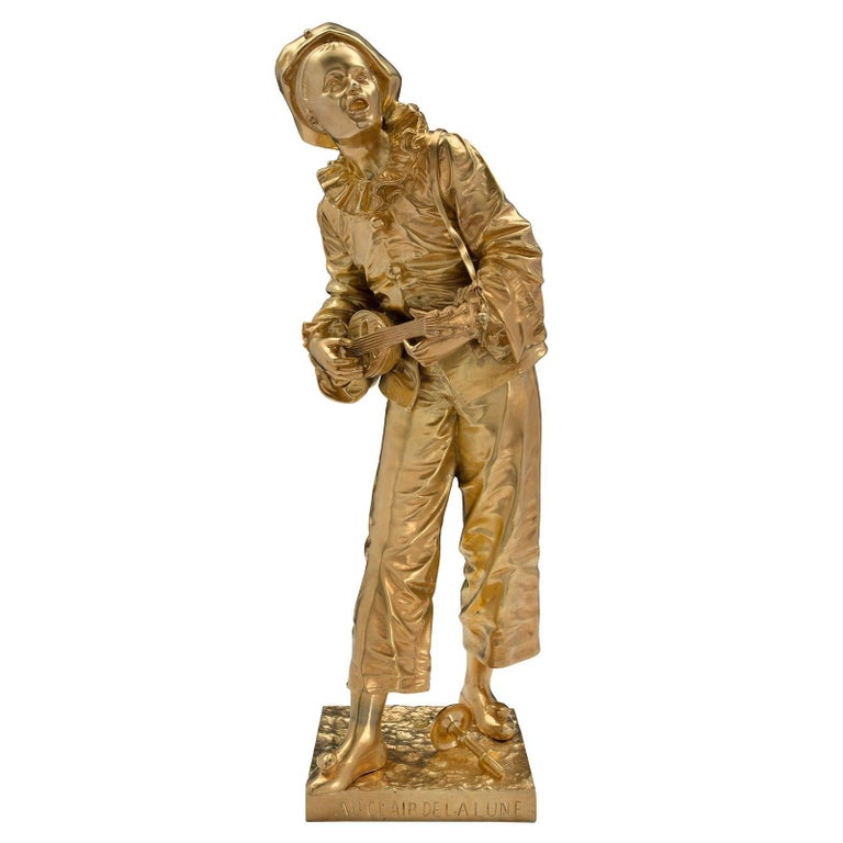 """French 19th Century Louis XVI Style Ormolu Statue of """"Pierrot"""" Singing For Sale"""