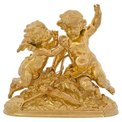 French 19th Century Louis XVI Style Ormolu Statue of Two Cherubs Signed Moreau