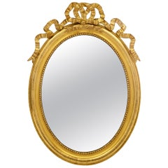 French 19th Century Louis XVI Style Oval Giltwood Mirror