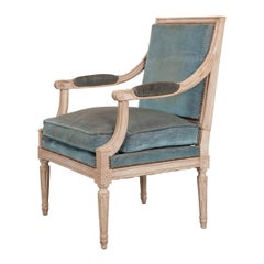 French 19th Century Louis XVI-Style Painted Fauteuil