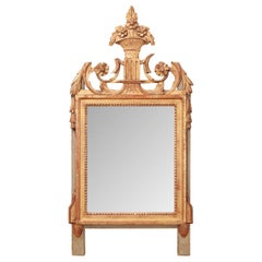 French 19th Century Louis XVI Style Painted and Giltwood Mirror