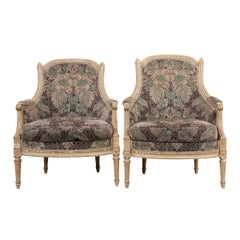 French 19th Century Louis XVI-Style Pair of Painted Bergères