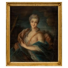 French 19th Century Louis XVI Style Pastel of Diana the Huntress
