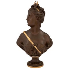 French 19th Century Louis XVI Style Patinated Bronze and Ormolu Bust