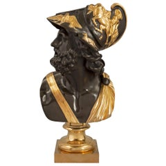 French 19th Century Louis XVI Style Patinated Bronze and Ormolu Bust of Menelaus