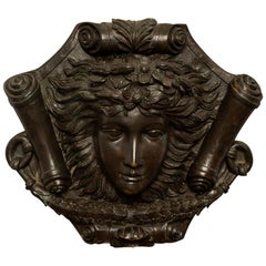 French 19th Century Louis XVI Style Patinated Bronze Decorative Wall Plaque