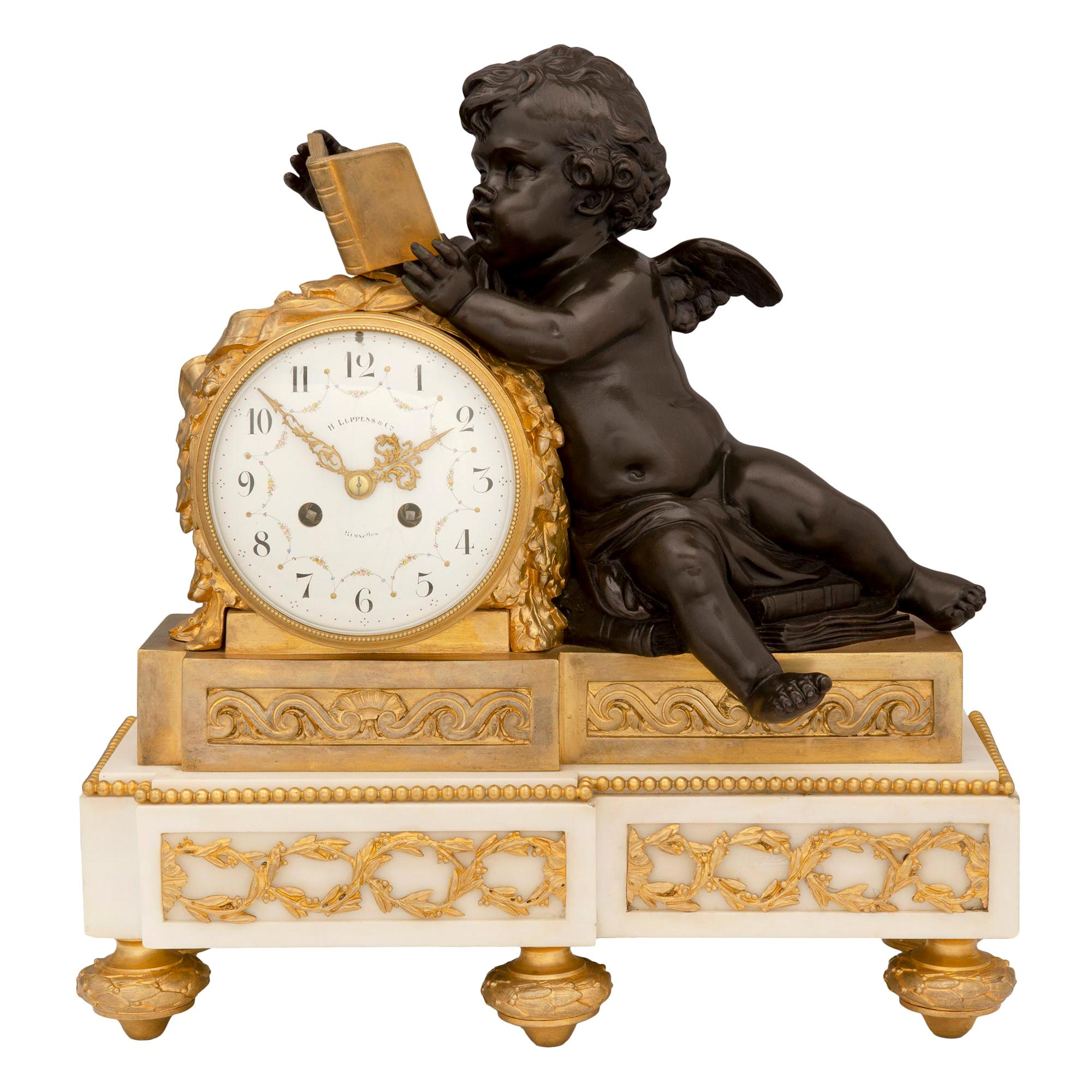 French 19th Century Louis XVI Style Patinated Bronze, Ormolu and Marble Clock