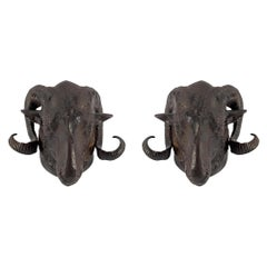 French 19th Century Louis XVI Style Patinated Bronze Ram Heads