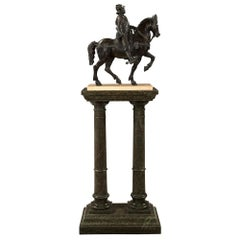 French 19th Century Louis XVI Style Patinated Bronze Soldier on His Horse