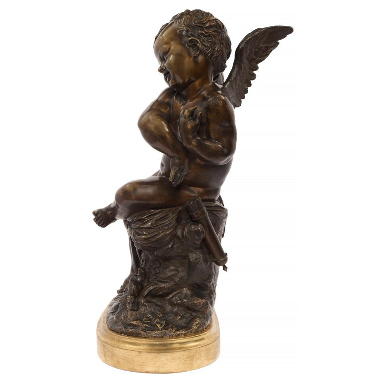 French 19th Century Louis XVI Style Patinated Bronze Statue, Signed Lemire For Sale 2