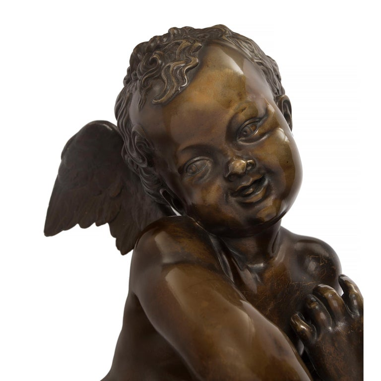 French 19th Century Louis XVI Style Patinated Bronze Statue, Signed Lemire For Sale 3