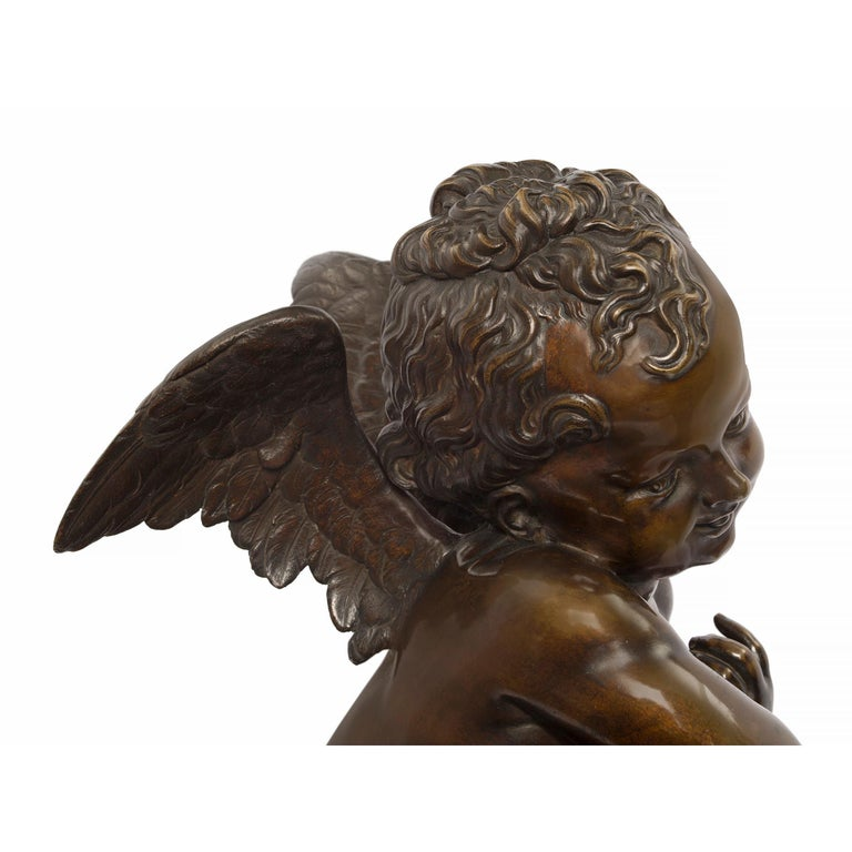 French 19th Century Louis XVI Style Patinated Bronze Statue, Signed Lemire For Sale 4