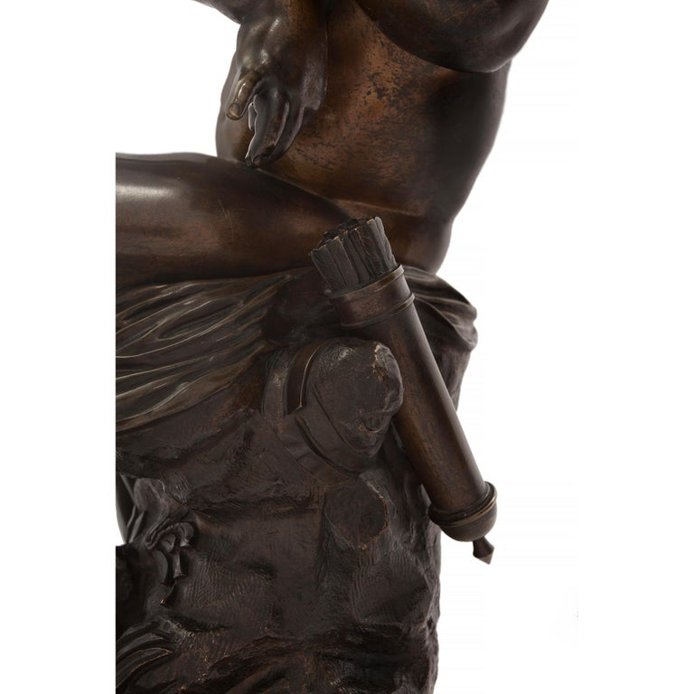French 19th Century Louis XVI Style Patinated Bronze Statue, Signed Lemire For Sale 5