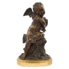 French 19th Century Louis XVI Style Patinated Bronze Statue, Signed Lemire