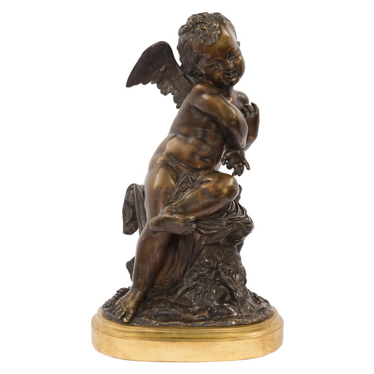 French 19th Century Louis XVI Style Patinated Bronze Statue, Signed Lemire For Sale